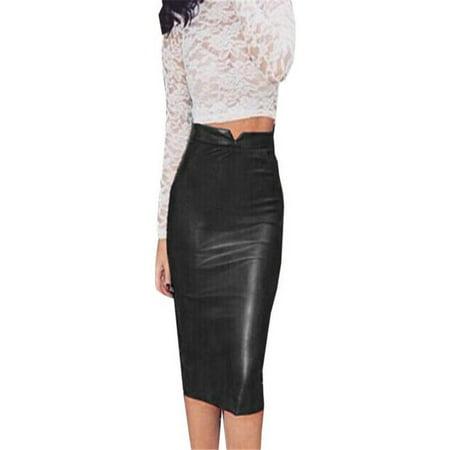 fce28d277e Women Leather Skirt High Waist Slim Party Pencil Skirt Black L - Walmart.com