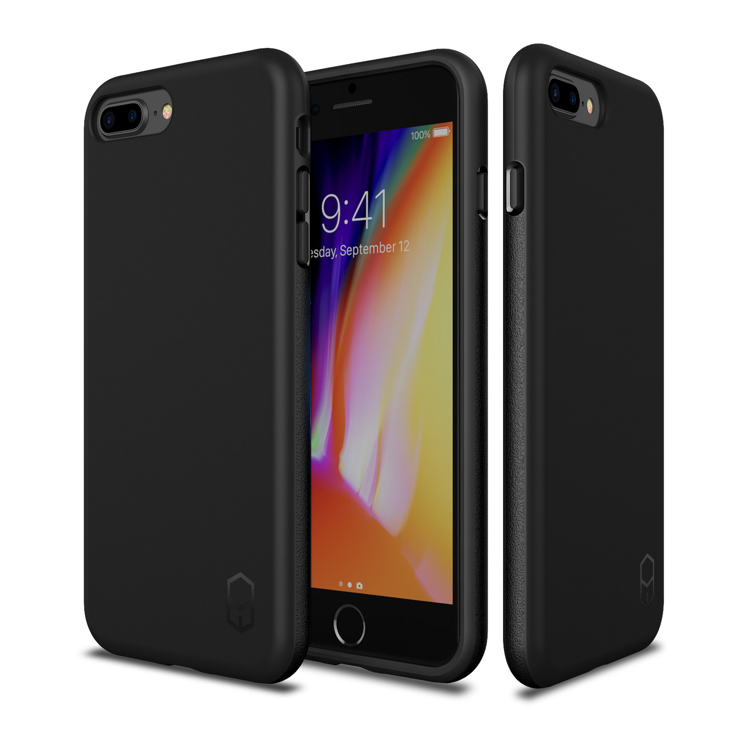 iPhone 8 Plus 7 Plus Case, Patchworks ITG Level Case in [Black] Rough Side Texture Grip Drop Protection Anti-Fingerprint Matte Surface Slim Fit Solid Case for iPhone 8 Plus (2017) iPhone 7 Plus (2016)