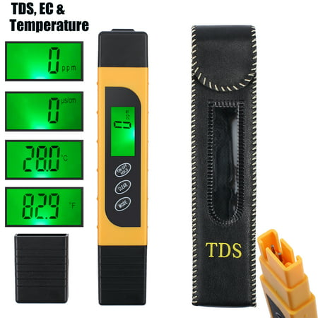 ESYNIC Digital Water Tester TDS EC Temperature Meter Test Pen Portable Water Quality Test Meter LCD Monitor for Drinking Water, Hydroponics, Aquariums, Swimming Pools - (0-9990 ppm)