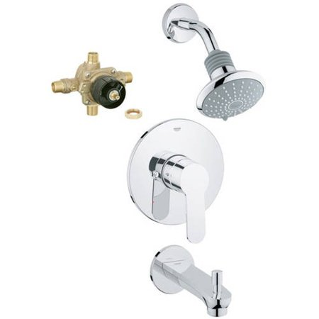 Grohe K35025-35015R-002 Eurostyle Shower Tub Combination with Rough-in, Starlight Chrome ()