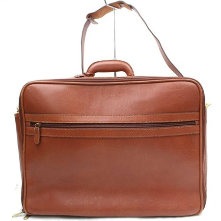 PRE-OWNED 2way Suitcase Luggage with Strap 870006 Brown Leather Weekend/Travel