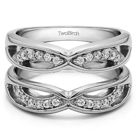 - White Sapphire in Sterling Silver Anniversary Jacket Ring Guard (0.24ct)