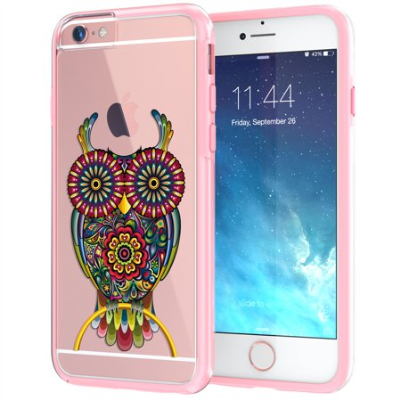 iPhone 6 6s Case, True Color® Owl Tattoo Design on Clear Transparent Hybrid Cover, Hard +Soft Slim Thin Durable Protective Shockproof Impact TPU Bumper +FREE Stylus and Screen Protector - Coral Pink ()