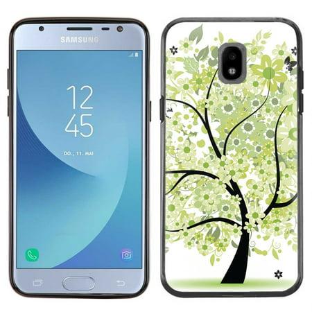 - Slim-Fit Case for Samsung Galaxy J3 Orbit, OneToughShield ® TPU (Black Bezel) Protective Phone Case - Green Tree