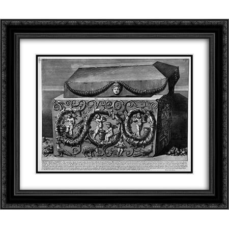 Giovanni Battista Piranesi 2x Matted 24x20 Black Ornate Framed Art Print 'The Roman antiquities, t. 2, Plate XXIV. Columns with their capitals, - Column Roman