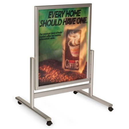 """Retail Signs 27-1/4""""w x 37""""h x 24-1/4""""d Silver Brushed Aluminum Snap Open Poster Holders for (2) 22"""" x 28"""" – Clip Frame Mall Stands Include Casters for Mobility"""