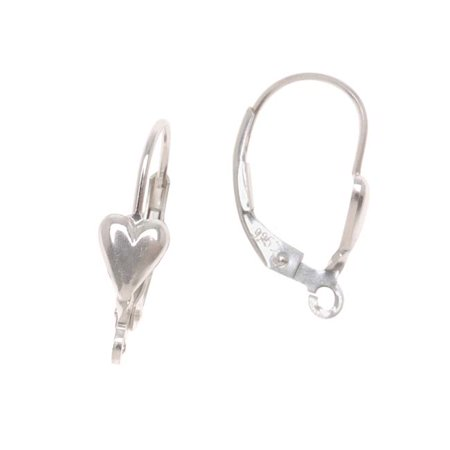 Sterling Silver Earrings Leverbacks With Heart (1 Pair)