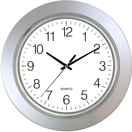 Timekeeper 13  Round Clock With Silver Tone Frame