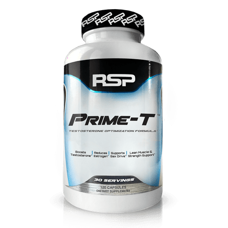 RSP Nutrition Prime-T Natural Testosterone Booster, Lean Muscle Growth, Strength, Stamina & Sleep, 120