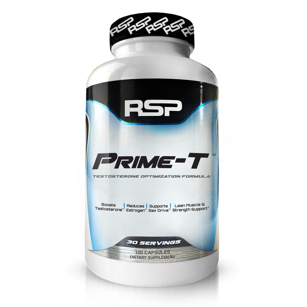 RSP Nutrition Prime-T Natural Testosterone Booster, Lean Muscle Growth, Strength, Stamina & Sleep, 120 Ct