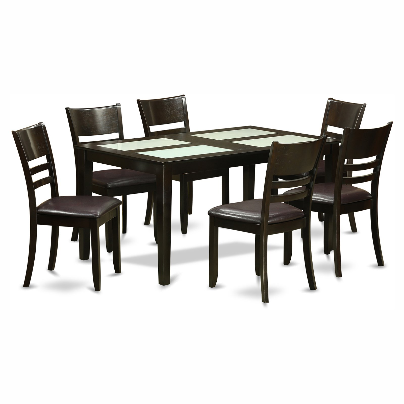 East West Furniture Capris 7 Piece Glass Top Rectangular Dining Table Set with Fields Faux Leather Seat Chairs