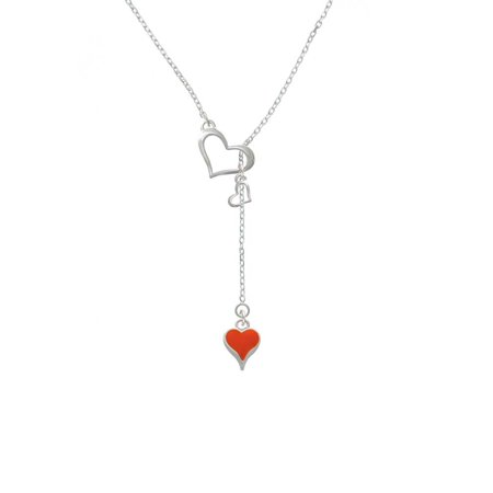 Long Lariat - Silvertone Small Long Orange Heart - In My Heart Lariat Necklace