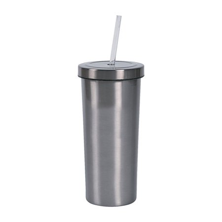 Fun Express - Stainless Steel Tumbler With Straw for Wedding - Home Decor - Entertaining - Drinkware - Wedding - 1 Piece - Stainless Steel Tumbler With Straw