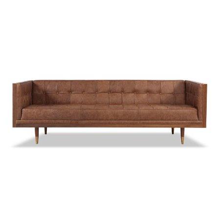 Corrigan Studio Carey Mid Century Modern Box Leather Sofa