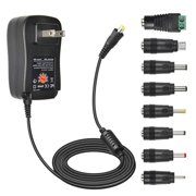 [Upgraded Version] 30W Universal AC/DC Adapter, Dteck Multi Voltage Switching Power Supply with 8 Selectable Tips & 5V 2.1A USB Port For 3V to 12V Max 2A Household Electronics and LED Strip