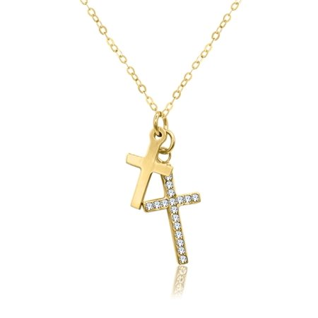 - Sterling Silver 18 Karat Yellow Gold Plating Polished & Crystals Cross Necklace