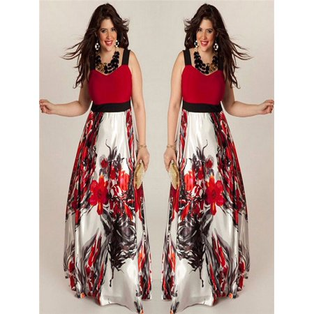 Plus Size Women Floral Printed Long Evening Party Prom Gown Formal Dress (Print Prom Gown)