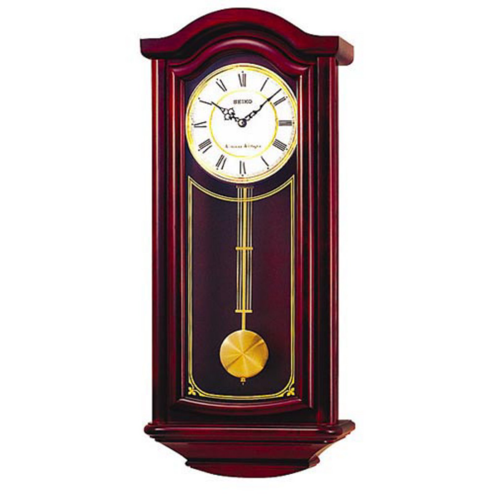 Seiko Mahogany Wood Wall Clock - 11.75 Inches Wide