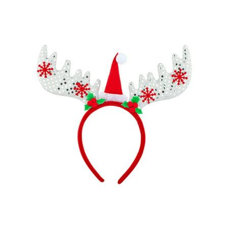 Lux Accessories Reindeer Antlers Silver Sequin Christmas Hat Snowflakes Headband (Snowflake Headband)