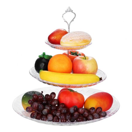 WALFRONT 3-Tier Acrylic Cake Tray Fruits Nuts Display Round Decorative Party Desserts Holder        , 3 Tier Fruit Tray,Cakes Holder (Acrylic Trays)