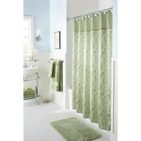 Better Homes And Gardens Kensington Damask Shower Curtain Green