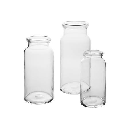 CASAMOTION Vases Hand Blown Art Glass Vase, Centerpiece Vases for Table, Clear, set of 3 100% Hand Blown Art