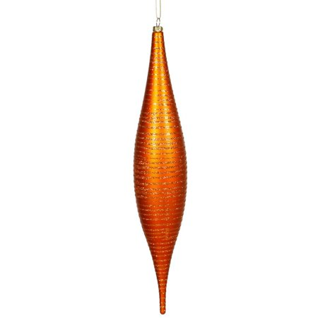Vickerman 23906 - 13 Burnished Orange Matte Glitter Skinny Drop Christmas Tree Ornament (M115218)
