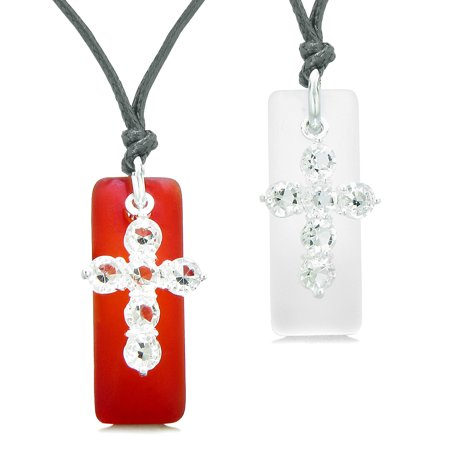 Sea Glass Mist White and Royal Red Tags Crystal Cross Love Couples BFF Set Protection Amulet