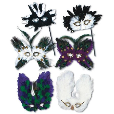 Club Pack of 12 Ultima Fanci-Feather Halloween Masks - Adult - Halloween Ultima Online