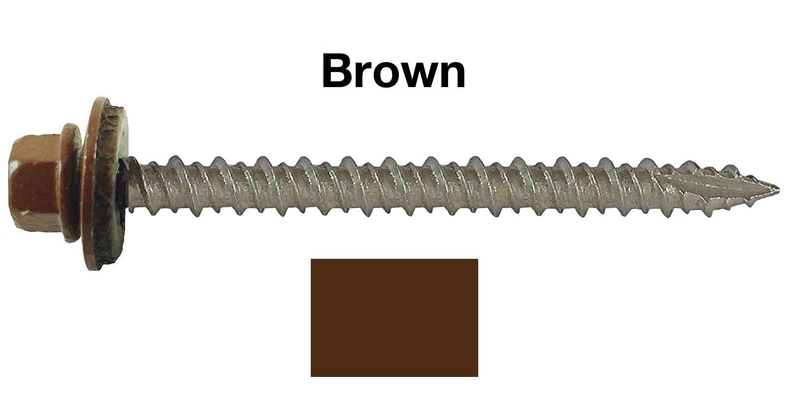 10 Metal Roofing Screws 250 Screws X 3 Quot Brown Hex Head
