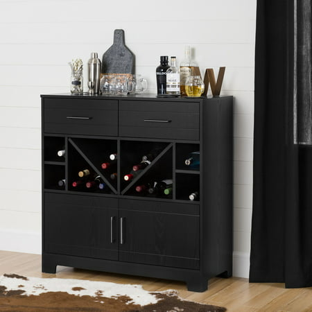Contemporary Wall Bar (Vietti Bar Cabinet with Bottle Storage and Drawers, Multiple Finishes)