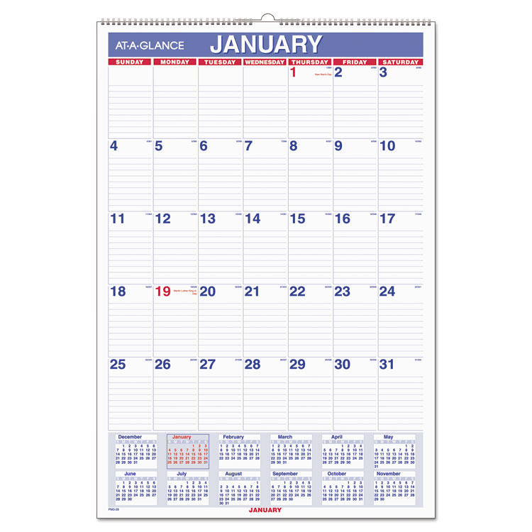 MONTHLY WALL CALENDAR WITH RULED DAILY BLOCKS, 15 1/2 X 22 3/4, WHITE, 2019