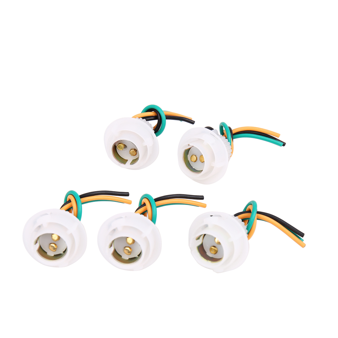 5pcs White 1157 Bulb Socket Car Turn Signal Light Harness Wire Connector Adapter