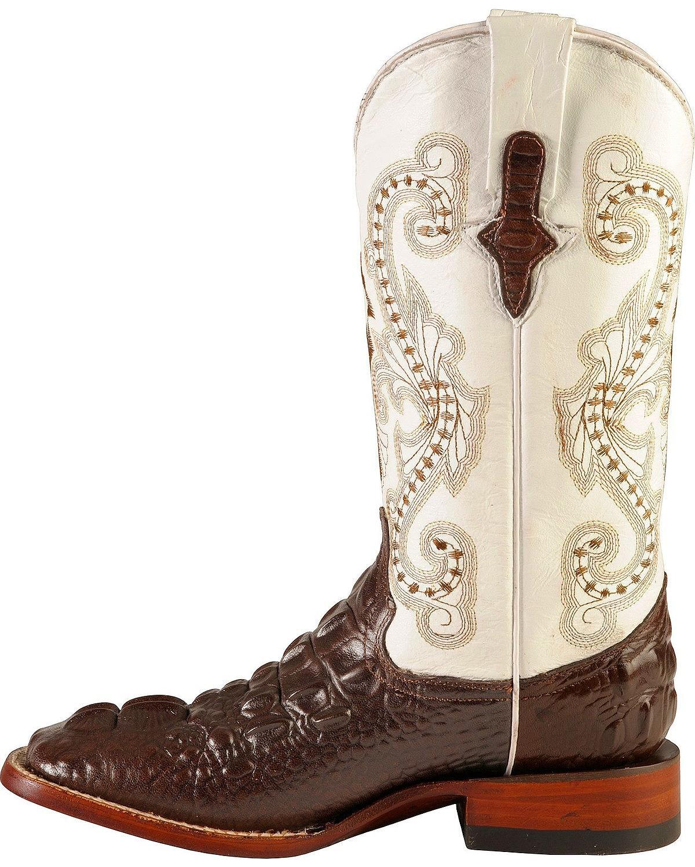 Ferrini Western Boots Womens Hornback Caiman Chocolate White 90493-09