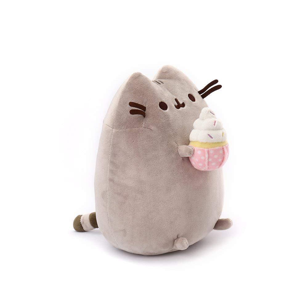 "GUND Pusheen Snackables Sprinkled Cupcake Cat Plush Stuffed Animal Gray 9.5/"""
