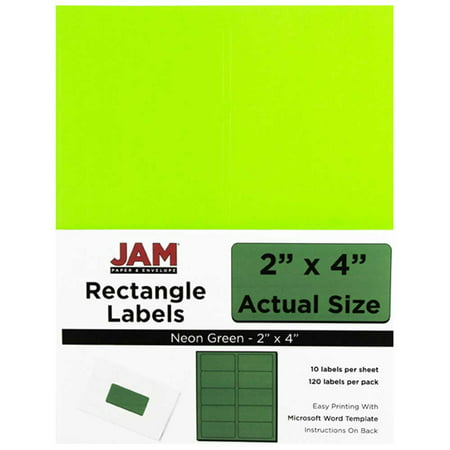 JAM Paper Mailing Address Labels, Medium, 2 x 4, Neon Fluorescent Green, 10 Labels per Page/120/pack 2' Rectangle Paper Label