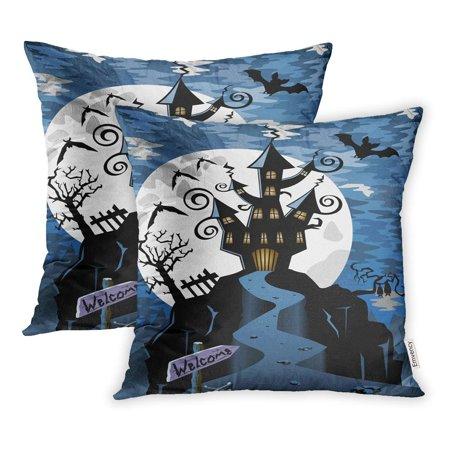 ARHOME Autumn Halloween Night Scene Spooky Ghost Castle Haunted Pillowcase Cushion Cover 16x16 inch, Set of 2 - Spooky Scene
