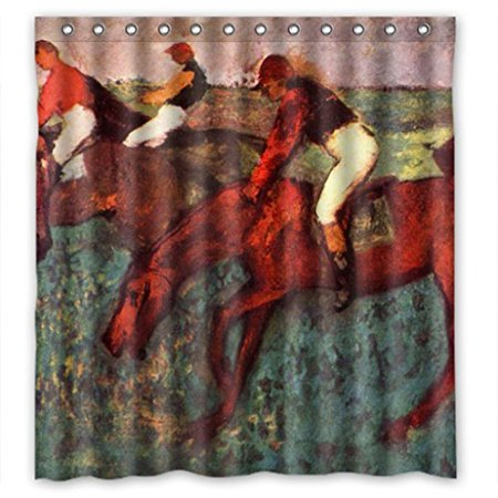 GreenDecor Horse Race Waterproof Shower Curtain Set with Hooks Bathroom Accessories Size 66x72 inches](Race Horse Accessories)