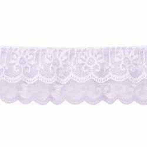 "Wrights Two Tiered Ruffle Lace, 2"" x 10 yds, Lavender/White"