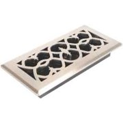 Victorian Floor Register, 4 In. X 10 In., Satin Nickel