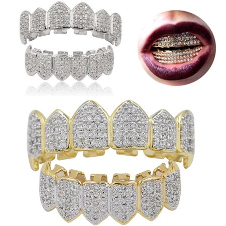 Moaere 18K Gold Plated Mouth Teeth Grills & Bottom Teeth Caps Set with Storage Box ()