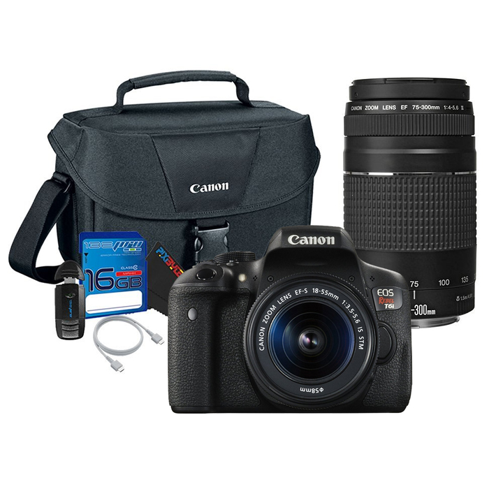 Canon EOS Rebel T6i Digital Camera with 18-55mm and 75-300mm III Lenses + Canon 100 ES Case + Pixi-Basic Accessory Kit