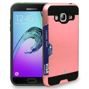 ROSE GOLD PINK CREDIT CARD SLOT HARD WALLET CASE COVER FOR SAMSUNG GALAXY J3