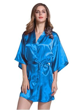 10fe349b5470 Product Image Womens Plain Satin Robe Dressing Gown Bridal Wedding Bride  Kimono Robe Sleepwear