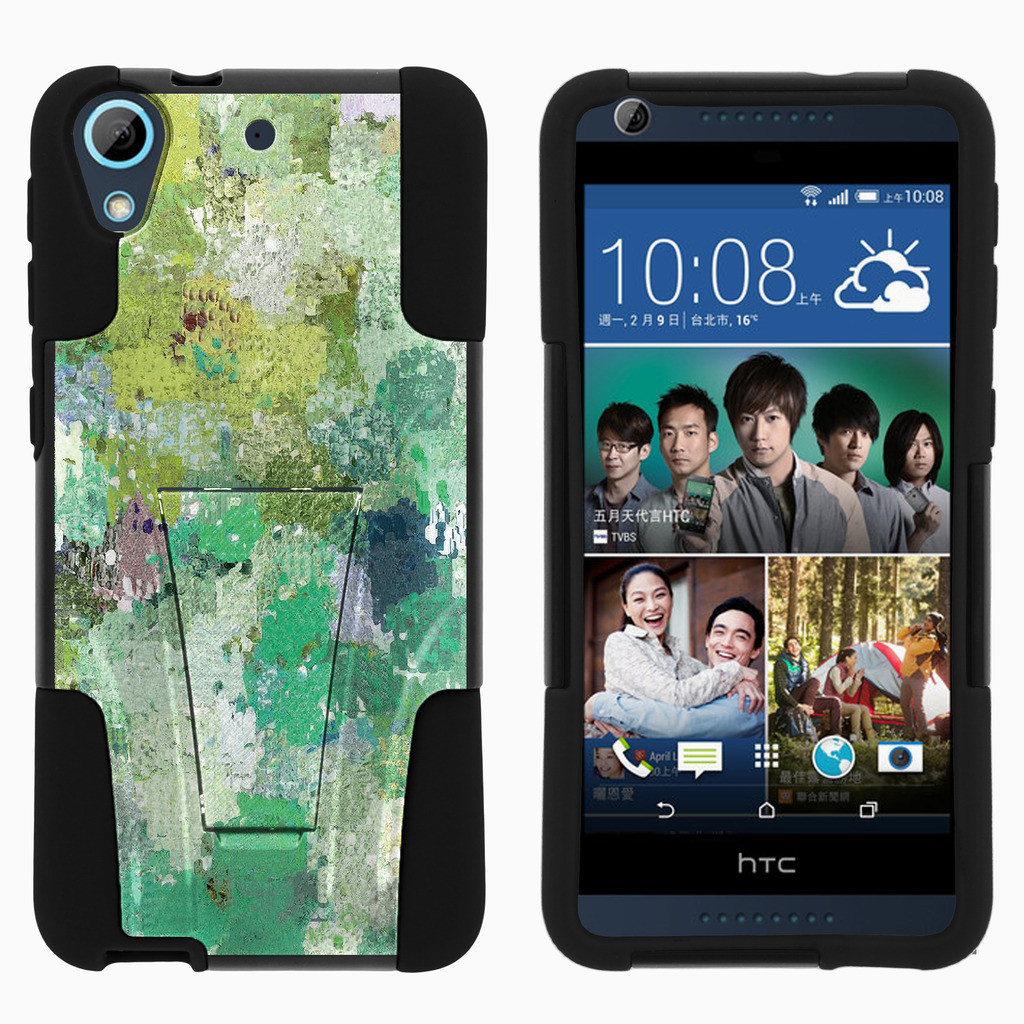 HTC Desire 626 STRIKE IMPACT Dual Layer Shock Absorbing Case with Built-In Kickstand - Enveloping Green