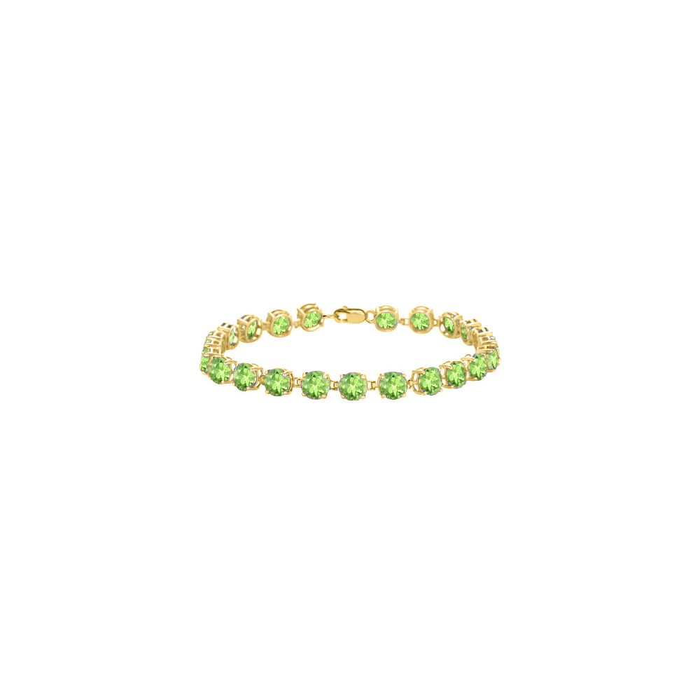 14K Yellow Gold Prong Set Round Peridot Bracelet 12.00 CT TGW August Birthstone Jewelry - image 2 de 2