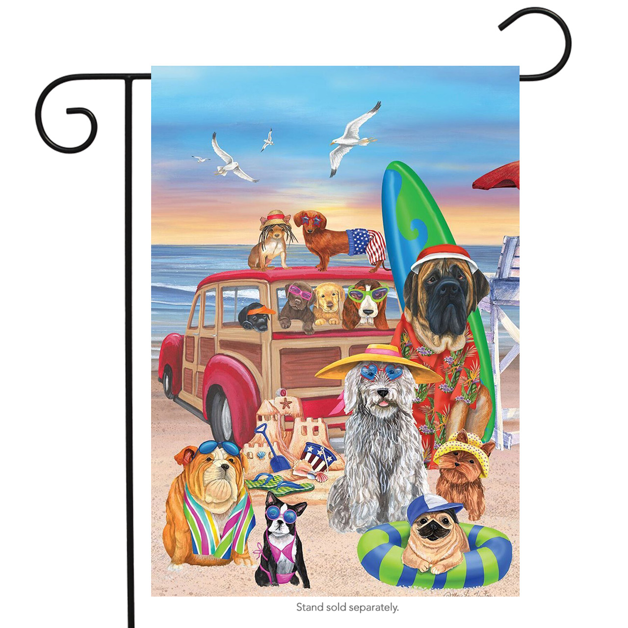 "Dog Days of Summer Garden Flag Humor Nautical Beach Surfboards 12.5"" x 18"""