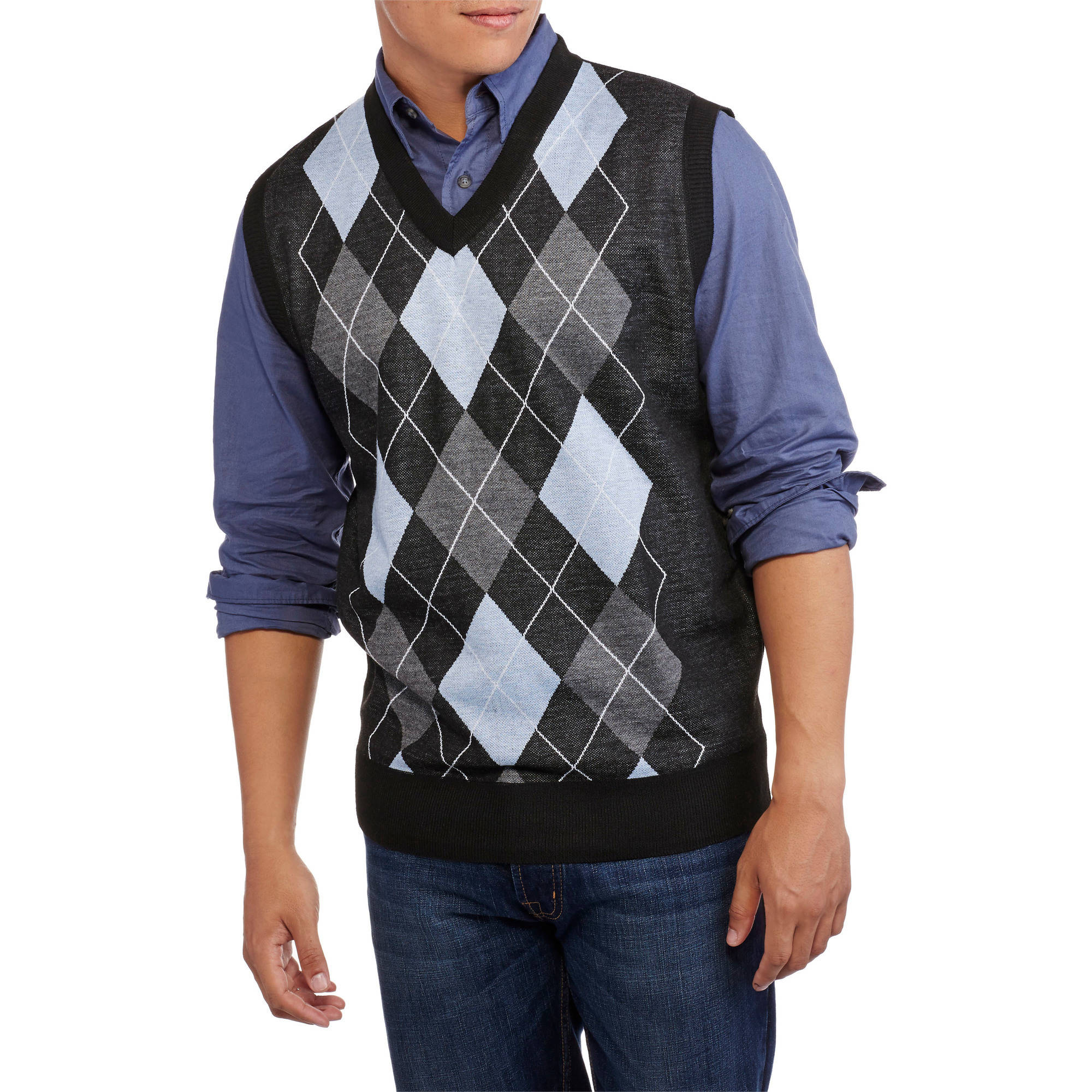 Ten West Mens V Neck Argyle Sweater Vest