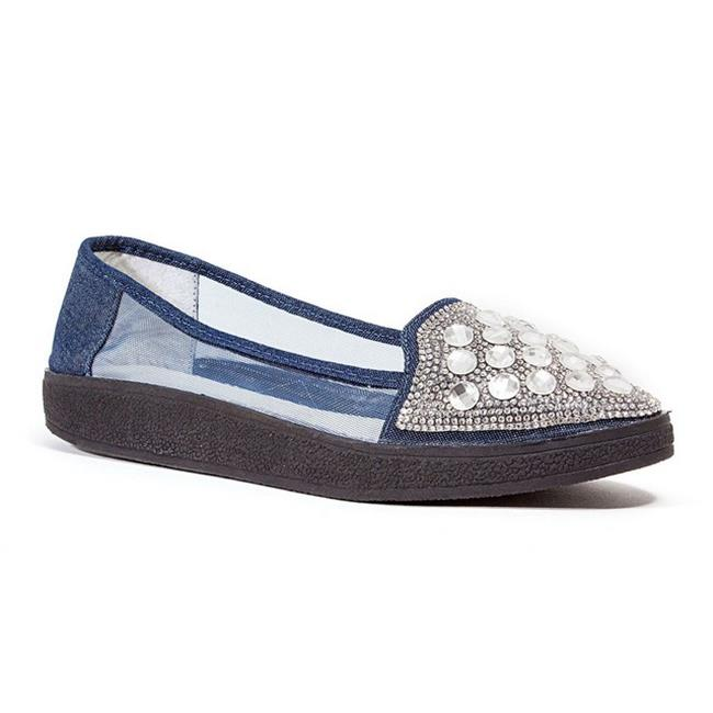 Lady Couture Sky Fashion Sneaker with Stones Shoe, Blue Denim - Size 38
