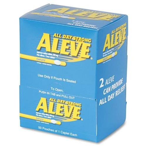 Aleve Pain Reliever Single Dose Packets - Arthritis, Headache, Muscular Pain, Toothache, Backache, Common Cold, Menstrual Cramp - 50 / Box (ACM90010)
